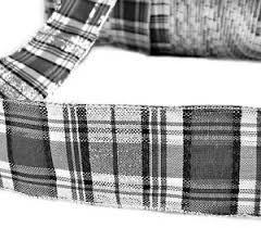 black and white wired ribbon 5 yards metallic black white grey silver plaid wired ribbon 1 1 2
