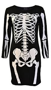 Womens Skeleton Halloween Costume Amazon Womens Skeleton Bones Halloween Dress Bodycon Party