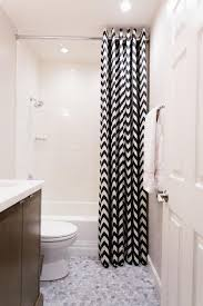Shower Curtains For Small Bathrooms Narrow Shower Curtain With Black And White Color Schemes Using