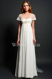 scoop neck white chiffon fabric country western style wedding dress