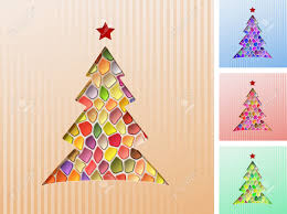 christmas tree cut out of the paper mosaic of colored jewels