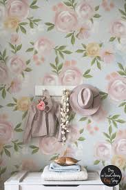 shabby roses vintage wallpaper removable wallpaper watercolor