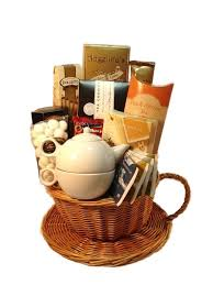 coffee and tea gift baskets gift idea assorted teas with teapot spiced pecans and almonds