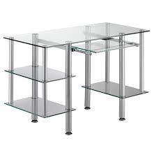 bureau metal et verre bureau en métal et verre trempé avec tablettes 120x55x74cm achat