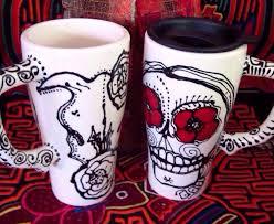 Georgia travel coffee mugs images Georgia o 39 keeffe skull 16 oz travel mug handpainted with jpg