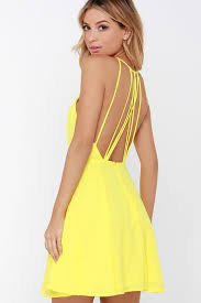 yellow dress chic yellow dress backless dress fit and flare dress 47 00