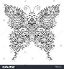zentangle vector butterfly anti stress stock vector