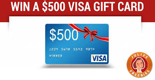 win gift cards enter to win a 500 visa gift card julie s freebies
