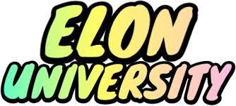 elon university pastel rainbow bubble letters