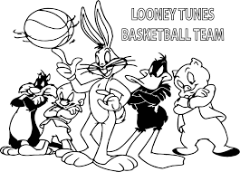 looney tunes basketball team coloring page wecoloringpage