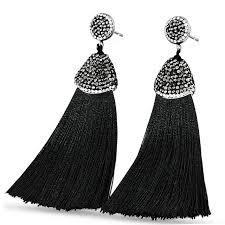 black dangle earrings online shop 2018 bohemia silk cotton tassel earrings