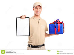 gift delivery delivery person delivering a gift box stock image image 18959001