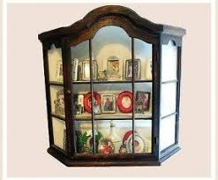 Wooden Wall Display Cabinets Hanging Curio Display Cabinet Foter