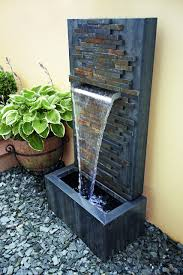 slate falls water feature with lights by gardman water features