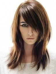 fleco largo corte en capas con flequillo largo sobre el rostro peinados