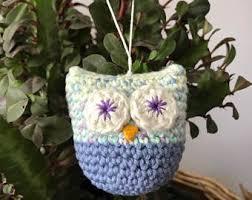 crochet owl hanger pendant ornament crochet pattern diy