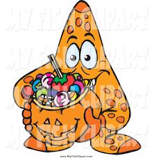 halloween basket clip art of a starfish holding a pumpkin basket full of halloween
