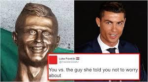 Cristiano Ronaldo Meme - cristiano ronaldo s new bronze statue has left twitterati in