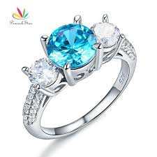 promise engagement rings images Peacock star 925 sterling silver 3 stone bridal promise engagement jpg