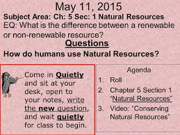 may 11 2015 subject area ch 5 sec 1 natural resources ppt