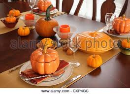 fall table setting for thanksgiving day celebration stock photo