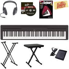 amazon com yamaha p 45 digital piano black bundle with stand