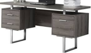 60 Office Desk Monarch Specialties I 7082 Taupe Hollow Silver Metal