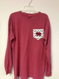 Long Sleeve Comfort Colors Elephant Chevron Stripe Long Sleeve Comfort Colors Pocket T Shirt