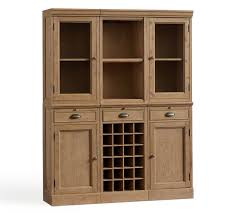 modular bar system with 2 glass door hutch and 1 open hutch