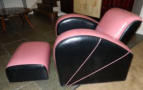 jazz style streamline pink and black modernist chair seating