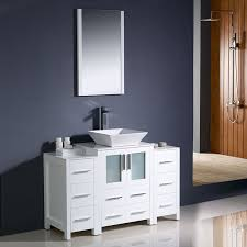shop fresca torino white vessel single sink bathroom vanity with