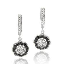 black dangle earrings db designs sterling silver 1 3ct tdw black diamond flower dangle