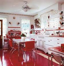 retro kitchen design style with white cabinets and red free