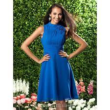 short knee length chiffon bridesmaid dress royal blue plus sizes