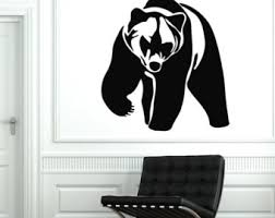 Bear Decorations For Home Grizzly Bear Decal Etsy