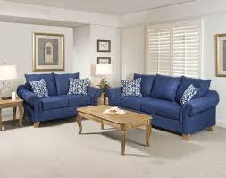 blue living room with brown furniture interior design