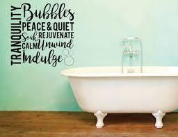 home goods bathroom decor vinyl wall word decal tranquility bubbles peace quiet soak