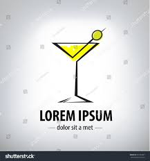 martini logo cocktail party glass design logo company stock vector 221395207