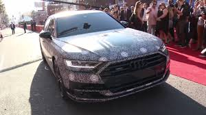 spider man arrives at homecoming in new audi a8
