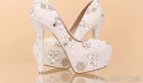 wedding shoes platform 2016 aesthetic pearl rhinestone wedding shoes ultra high heels
