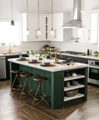 green kitchen cabinets with white countertops 25 trendy contrasting countertops for your kitchen digsdigs