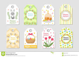 cute easter tags set labels collection with rabbit eggs and
