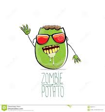 halloween monster names vector funny cartoon cute green zombie potato isolated on white