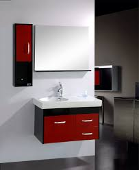 red bathroom designs wall mount square glass mirror floor to