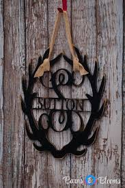 monogram wreath antler monogram wreath with family name barns blooms barns