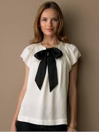 White Blouse With Black Bow Stylish Blouses For Women Aelida