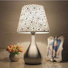 Nightstand Lamps Modern Table Lamps Modern In Floral Patterned Fabric Shade For Bedroom
