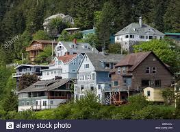 weatherboard houses ketchikan inside passage alaska usa stock