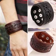 leather wrist strap bracelet images Rock punk wide leather mens wrist band strap bracelet handmade jpg