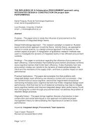 the influence of a collaborative procurement approach using